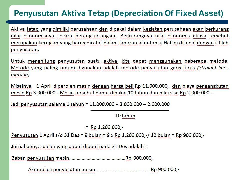 Penyusutan Aktiva Tetap (Depreciation Of Fixed Asset)
