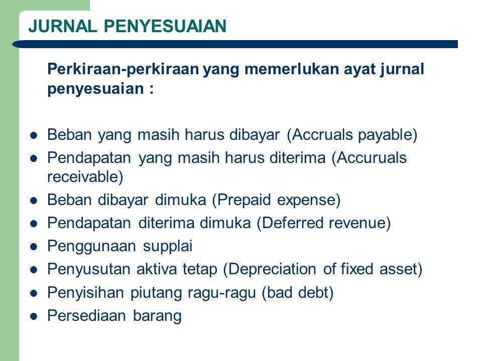 JURNAL PENYESUAIAN Perkiraan-perkiraan yang memerlukan ayat jurnal penyesuaian : Beban yang masih harus dibayar (Accruals payable)