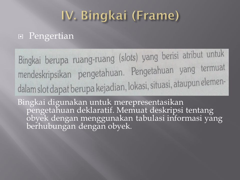 IV. Bingkai (Frame) Pengertian