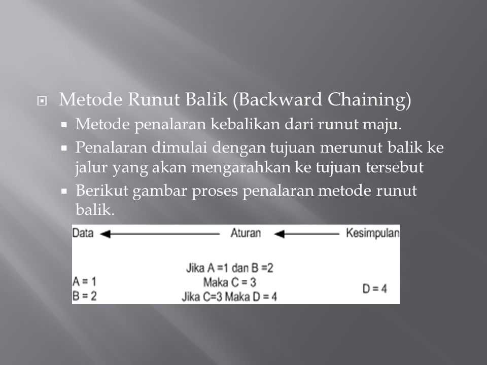 Metode Runut Balik (Backward Chaining)