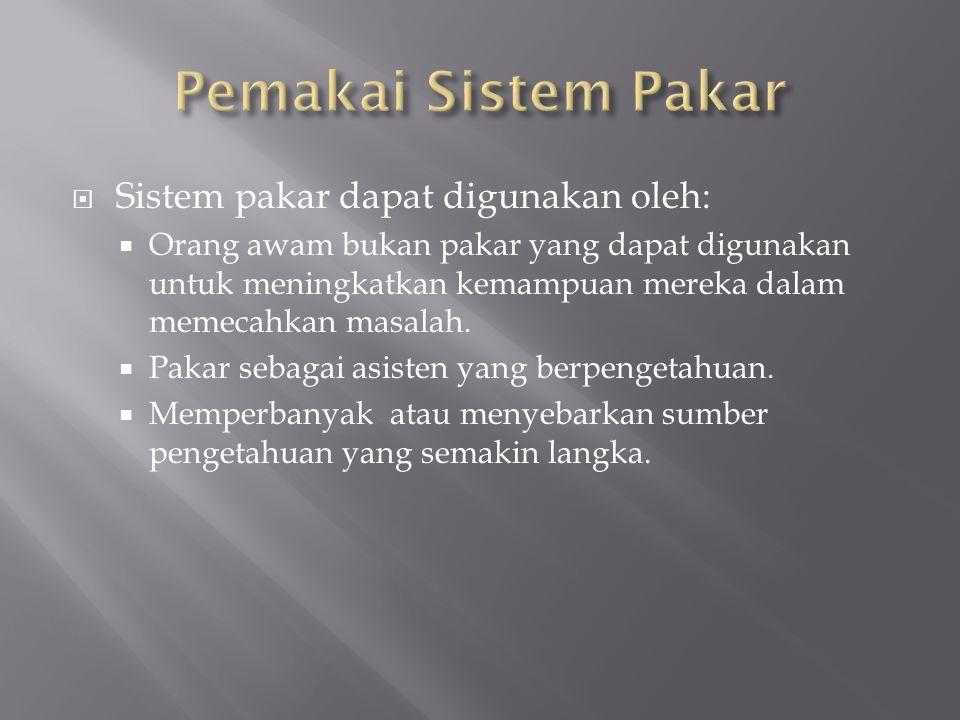 Pemakai Sistem Pakar Sistem pakar dapat digunakan oleh: