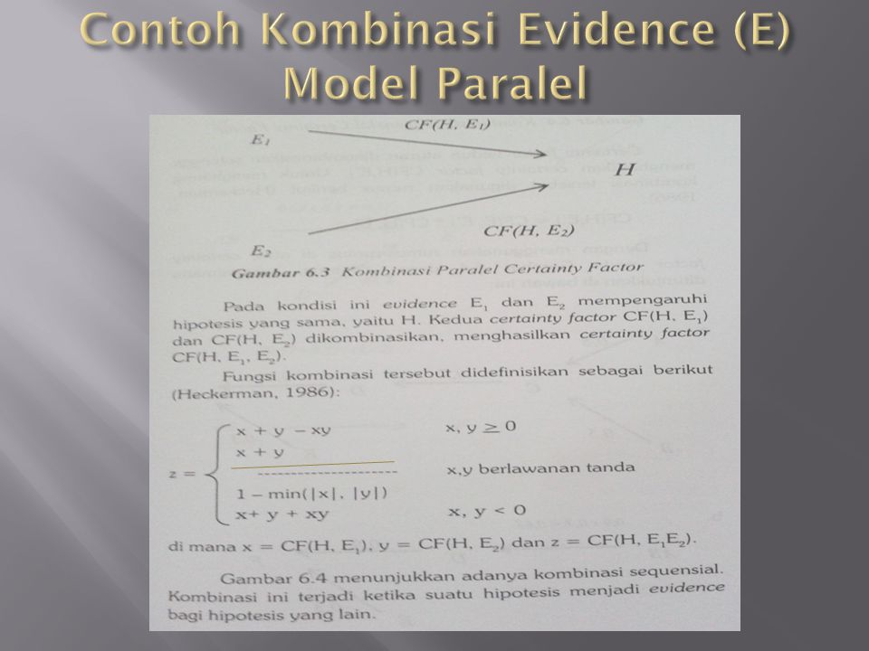 Contoh Kombinasi Evidence (E) Model Paralel
