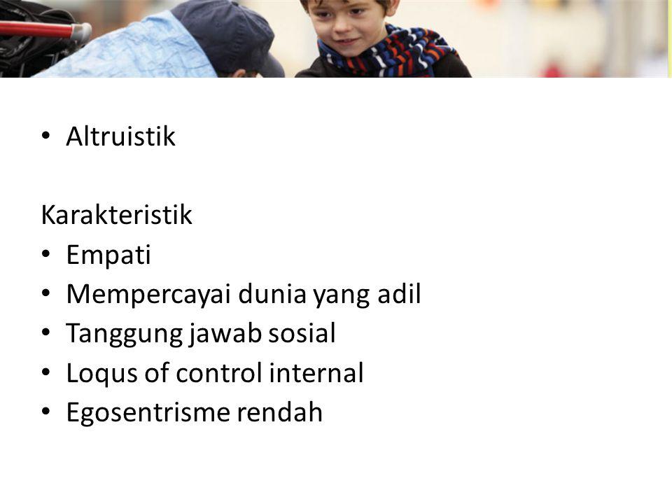 Altruistik Karakteristik. Empati. Mempercayai dunia yang adil. Tanggung jawab sosial. Loqus of control internal.