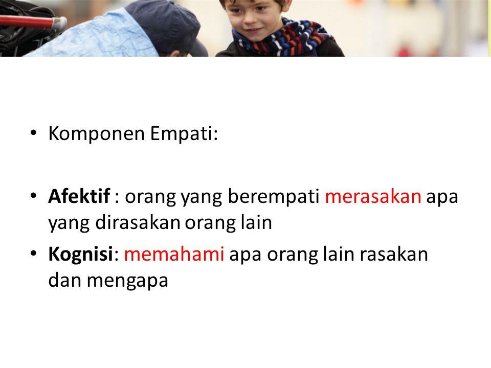 Komponen Empati: Afektif : orang yang berempati merasakan apa yang dirasakan orang lain.