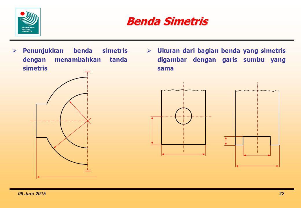 Benda Simetris Penunjukkan benda simetris dengan menambahkan tanda simetris.