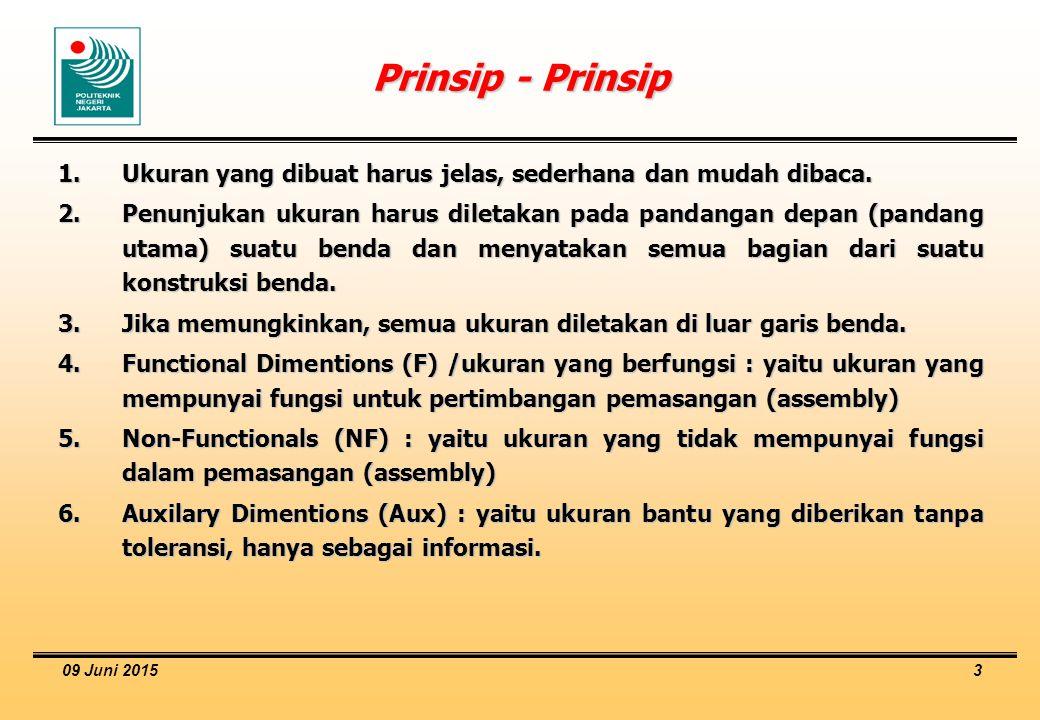Prinsip - Prinsip Ukuran yang dibuat harus jelas, sederhana dan mudah dibaca.