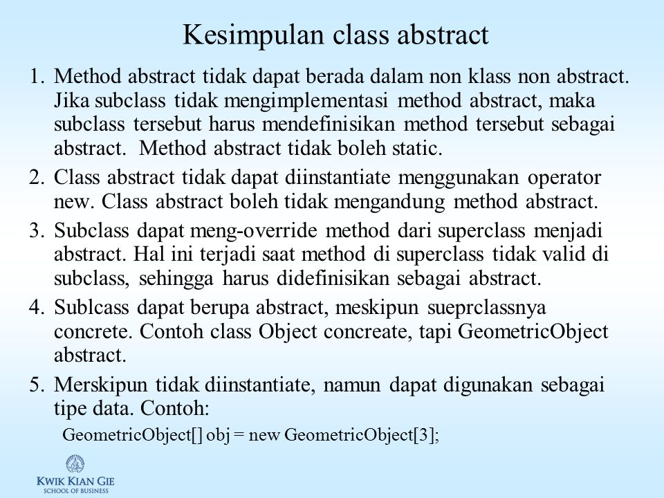 Kesimpulan class abstract