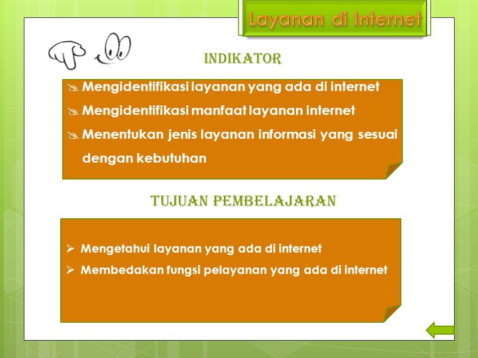 Layanan di Internet TUJUAN PEMBELAJARAN INDIKATOR