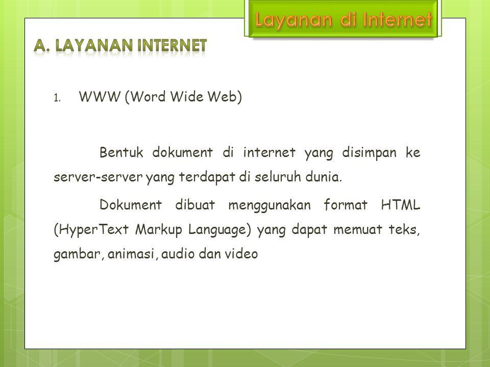 Layanan di Internet A. Layanan internet WWW (Word Wide Web)