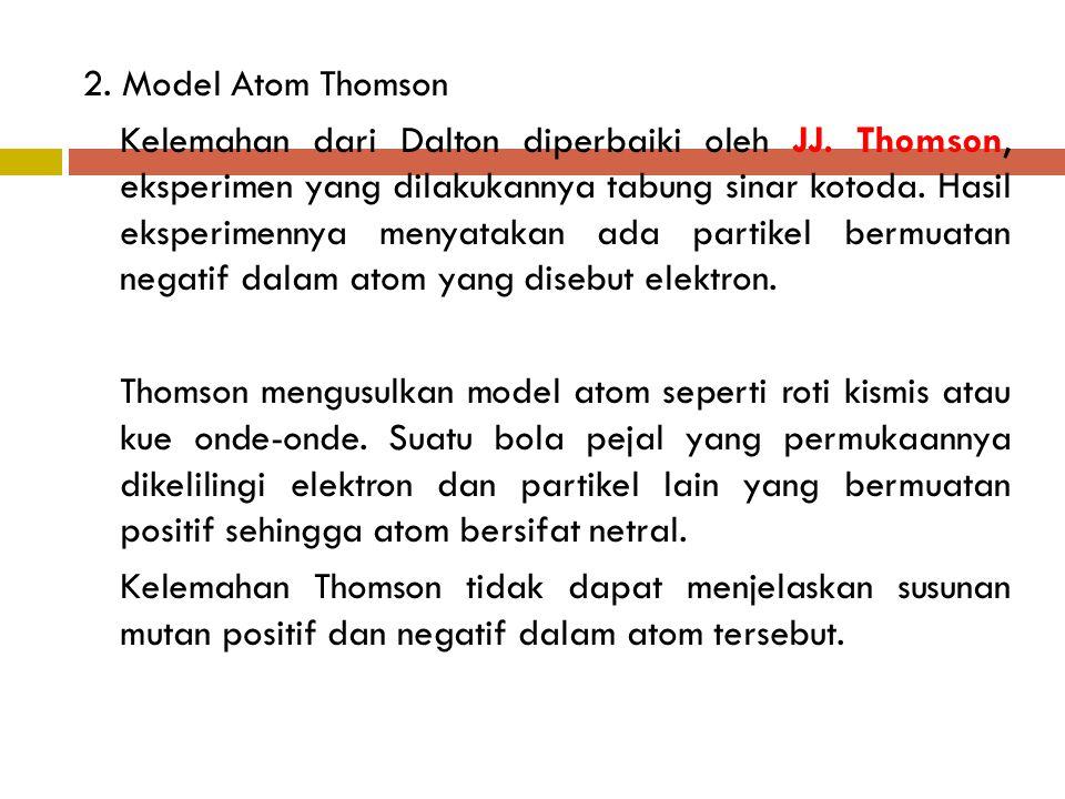 2. Model Atom Thomson Kelemahan dari Dalton diperbaiki oleh JJ