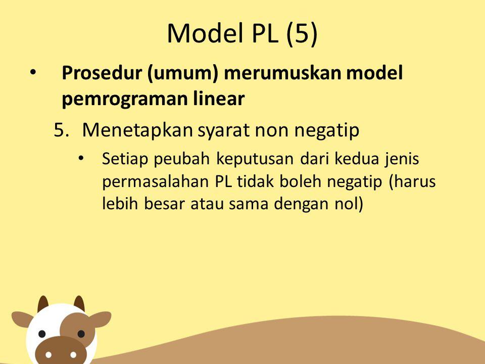 Model PL (5) Prosedur (umum) merumuskan model pemrograman linear