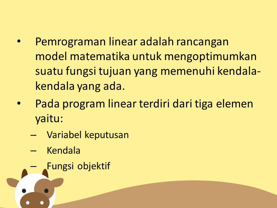 Pada program linear terdiri dari tiga elemen yaitu: