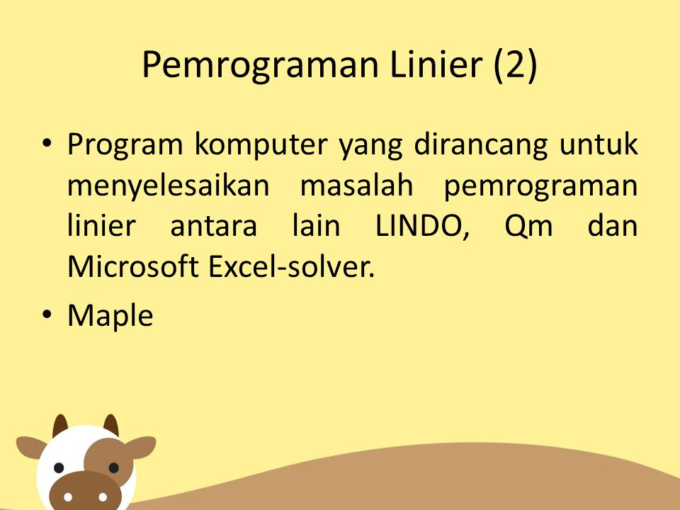 Pemrograman Linier (2)