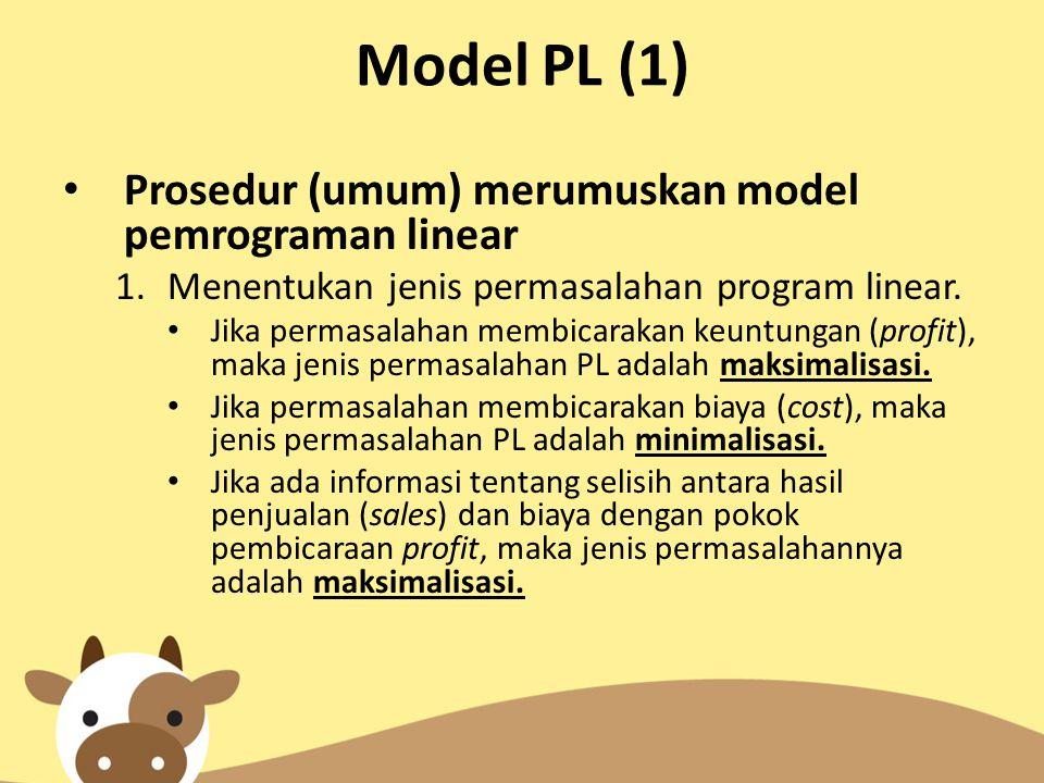 Model PL (1) Prosedur (umum) merumuskan model pemrograman linear
