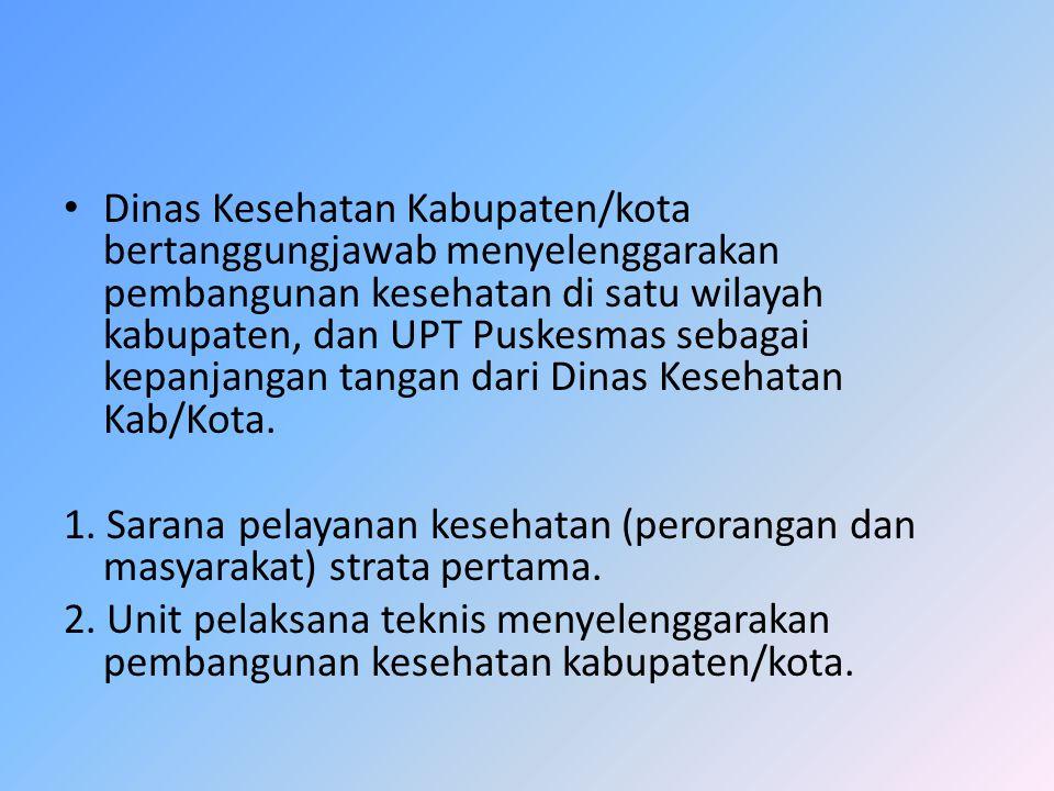 Dinas Kesehatan Kabupaten/kota bertanggungjawab menyelenggarakan pembangunan kesehatan di satu wilayah kabupaten, dan UPT Puskesmas sebagai kepanjangan tangan dari Dinas Kesehatan Kab/Kota.