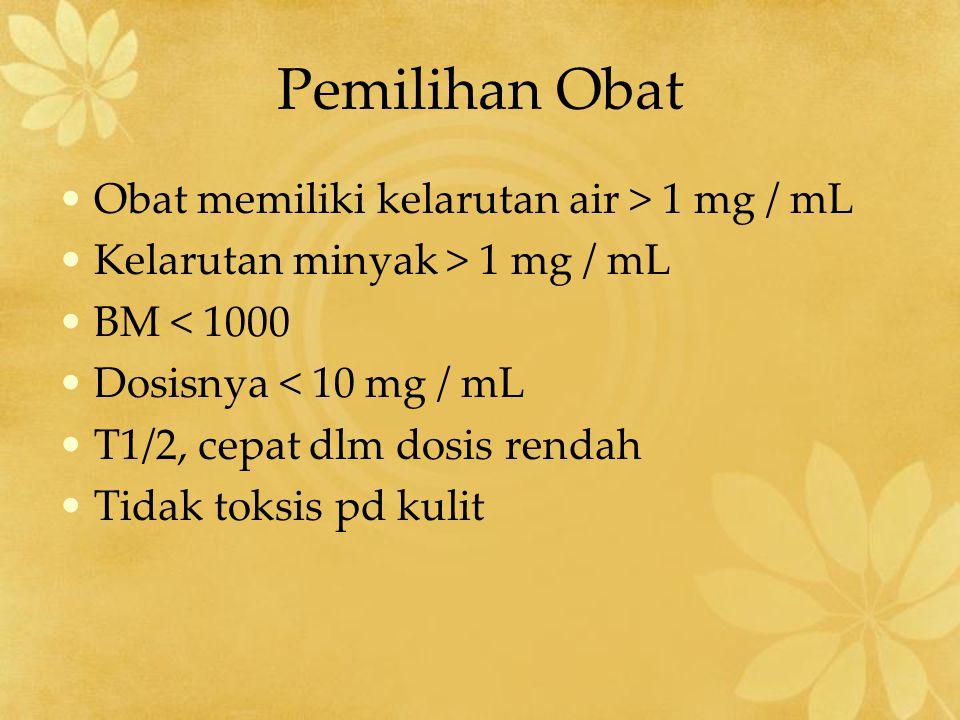 Pemilihan Obat Obat memiliki kelarutan air > 1 mg / mL