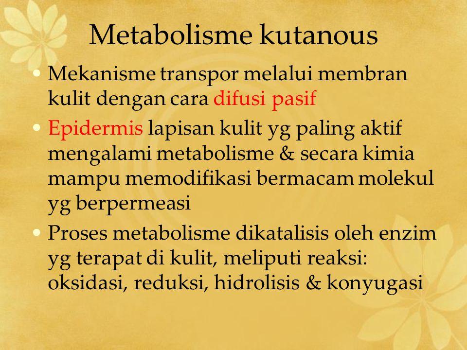 Metabolisme kutanous Mekanisme transpor melalui membran kulit dengan cara difusi pasif.