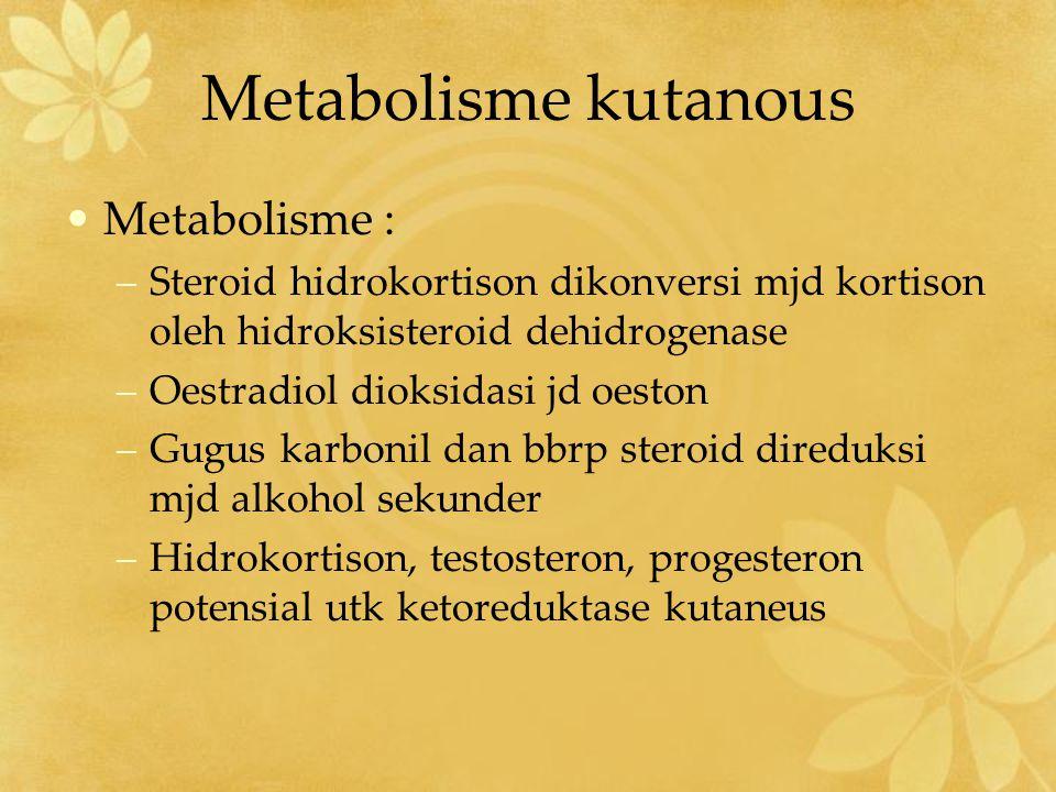Metabolisme kutanous Metabolisme :