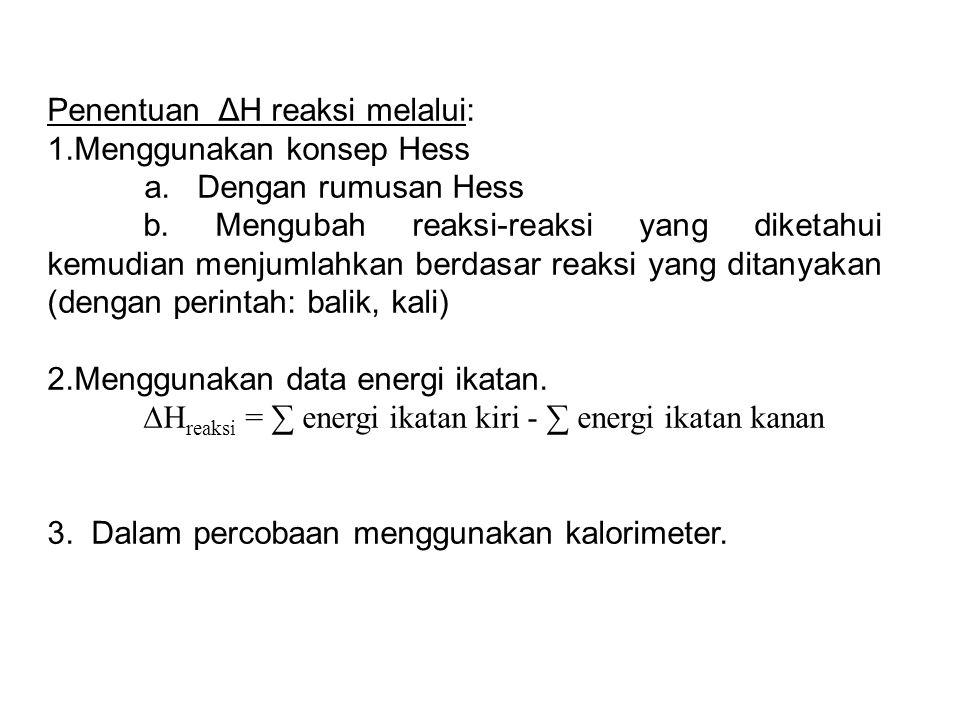 Penentuan ΔH reaksi melalui: