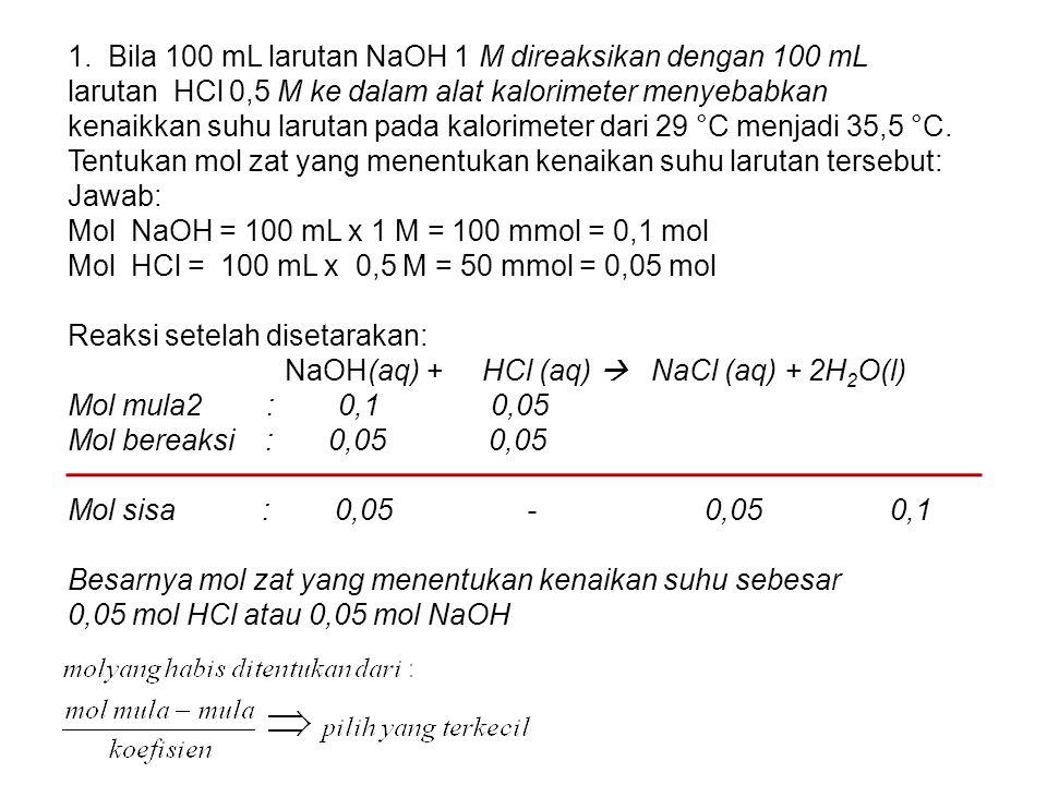 1. Bila 100 mL larutan NaOH 1 M direaksikan dengan 100 mL