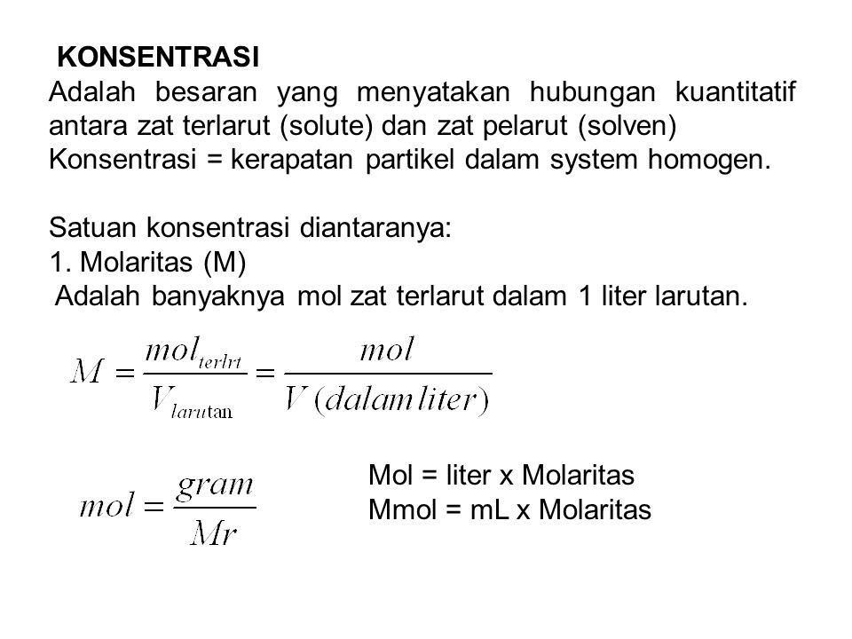 KONSENTRASI Adalah besaran yang menyatakan hubungan kuantitatif antara zat terlarut (solute) dan zat pelarut (solven)