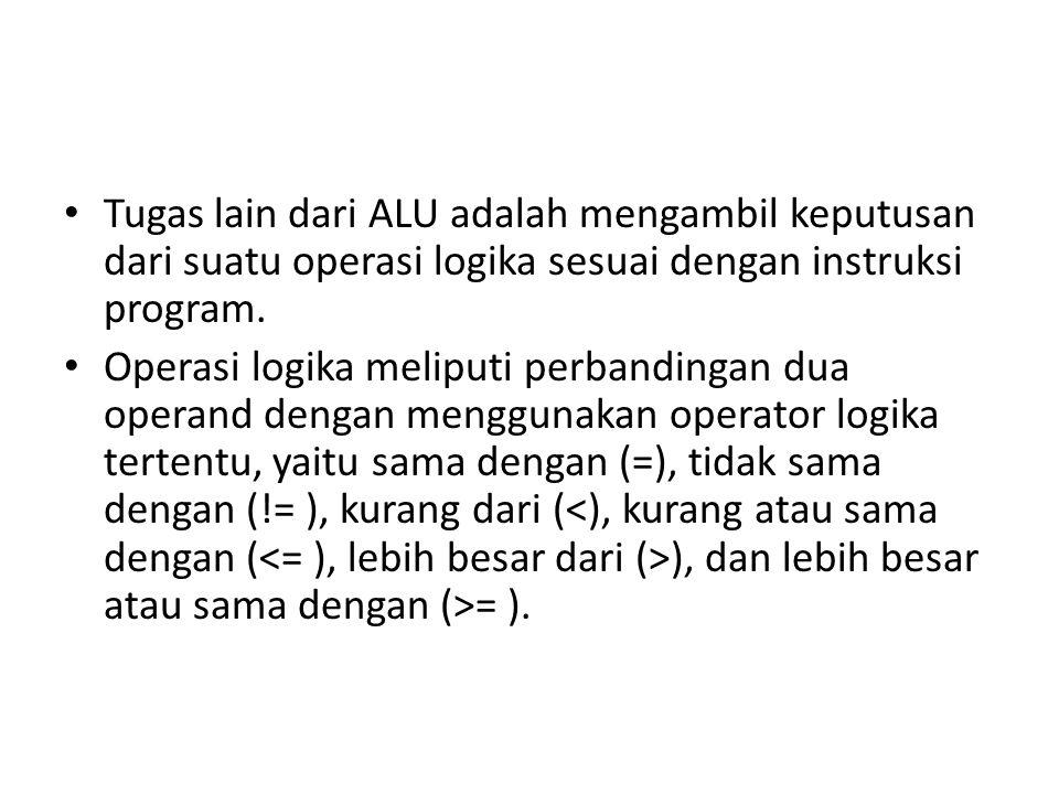 Tugas lain dari ALU adalah mengambil keputusan dari suatu operasi logika sesuai dengan instruksi program.