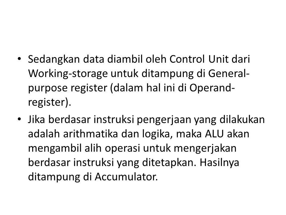 Sedangkan data diambil oleh Control Unit dari Working-storage untuk ditampung di General-purpose register (dalam hal ini di Operand-register).