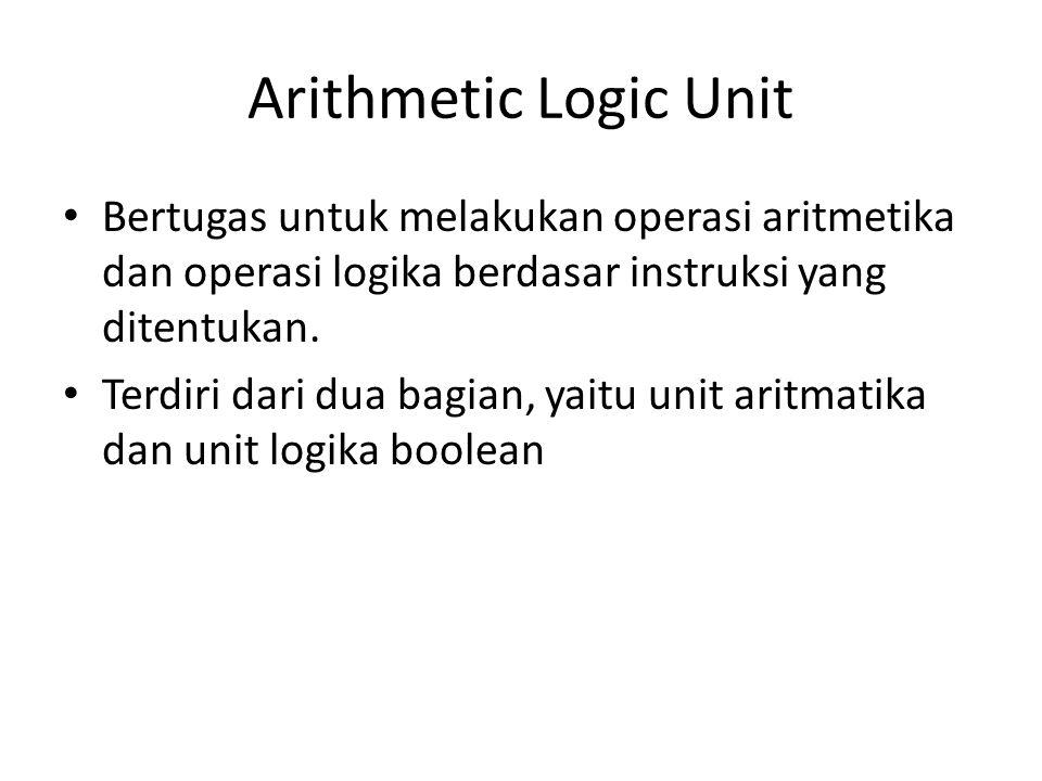 Arithmetic Logic Unit Bertugas untuk melakukan operasi aritmetika dan operasi logika berdasar instruksi yang ditentukan.