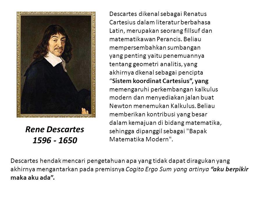 Rene Descartes 1596 - 1650 Descartes dikenal sebagai Renatus