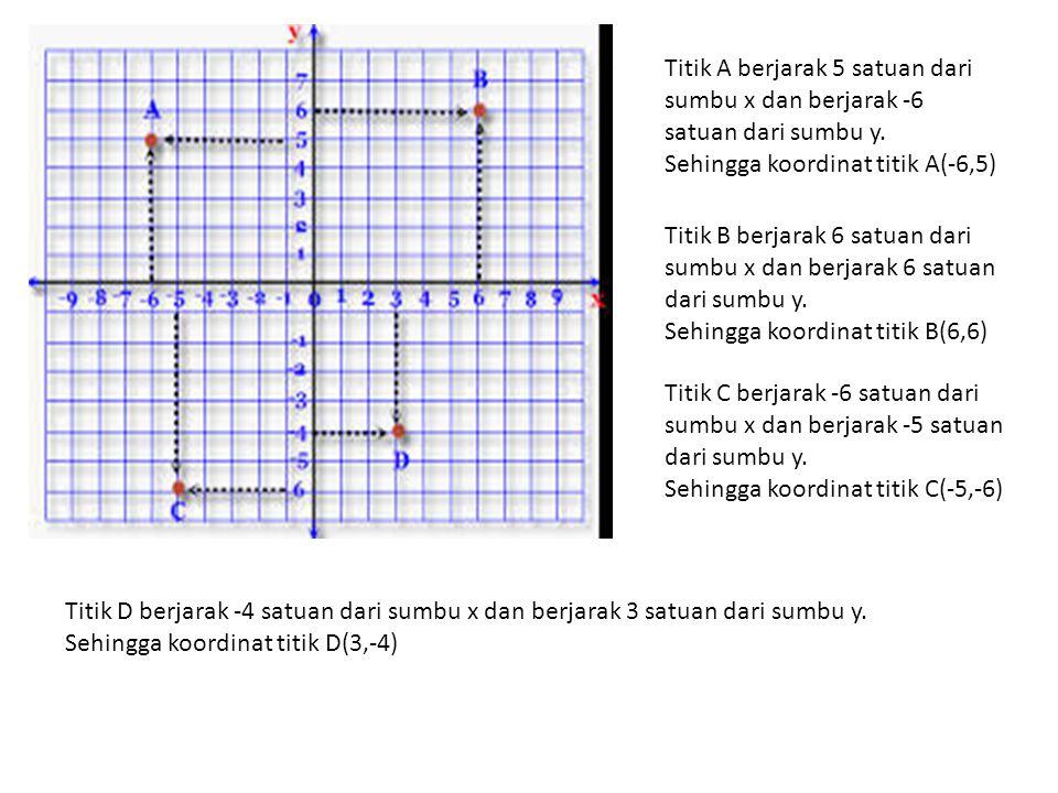 Titik A berjarak 5 satuan dari sumbu x dan berjarak -6 satuan dari sumbu y.