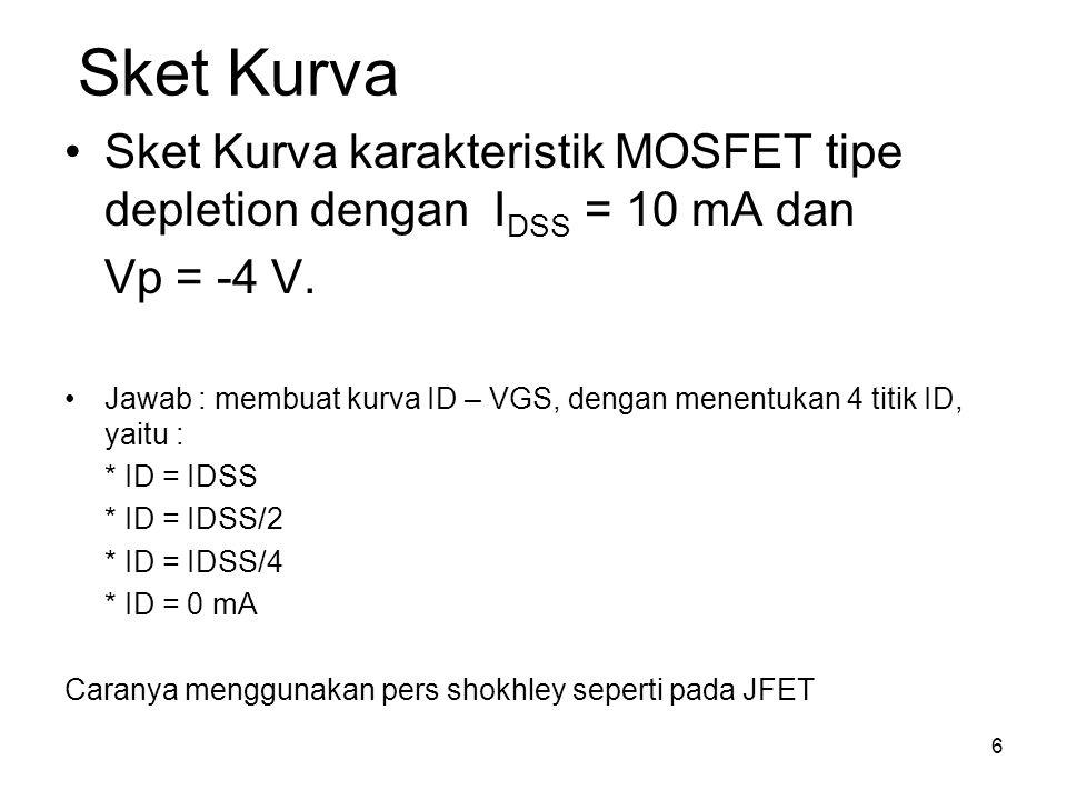 Sket Kurva Sket Kurva karakteristik MOSFET tipe depletion dengan IDSS = 10 mA dan. Vp = -4 V.