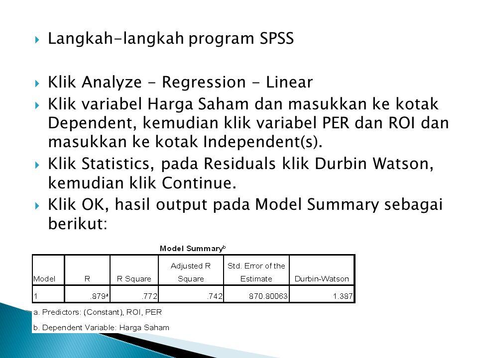 Langkah-langkah program SPSS