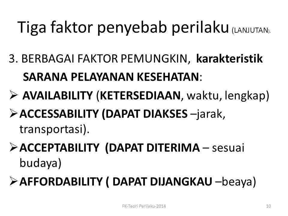 Tiga faktor penyebab perilaku (LANJUTAN).