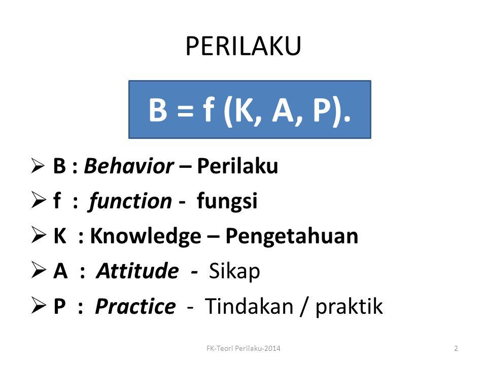 B = f (K, A, P). PERILAKU f : function - fungsi