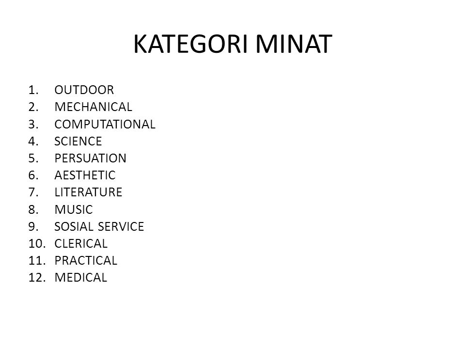 KATEGORI MINAT OUTDOOR MECHANICAL COMPUTATIONAL SCIENCE PERSUATION
