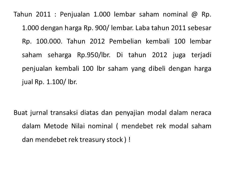 Tahun 2011 : Penjualan 1. 000 lembar saham nominal @ Rp. 1
