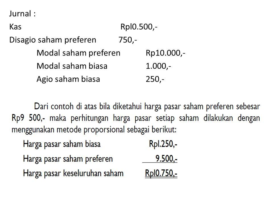 Jurnal : Kas Rpl0.500,- Disagio saham preferen 750,- Modal saham preferen Rp10.000,- Modal saham biasa 1.000,-