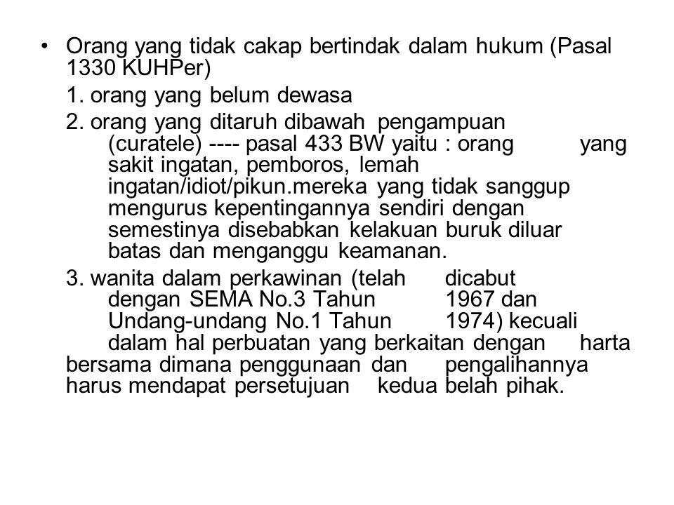 Orang yang tidak cakap bertindak dalam hukum (Pasal 1330 KUHPer)