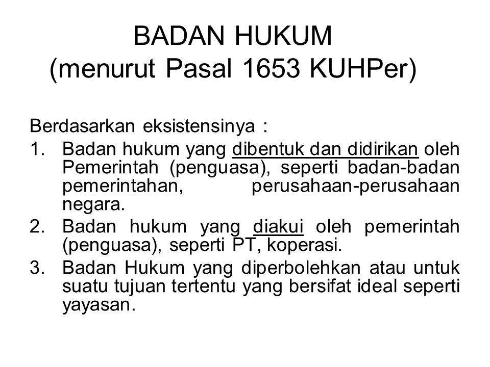 BADAN HUKUM (menurut Pasal 1653 KUHPer)