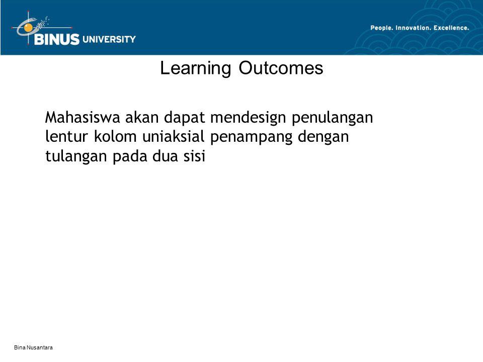 Learning Outcomes Mahasiswa akan dapat mendesign penulangan lentur kolom uniaksial penampang dengan tulangan pada dua sisi.