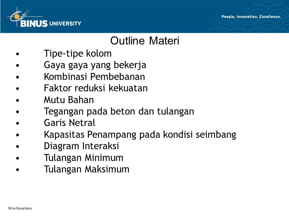 Outline Materi • Tipe-tipe kolom • Gaya gaya yang bekerja