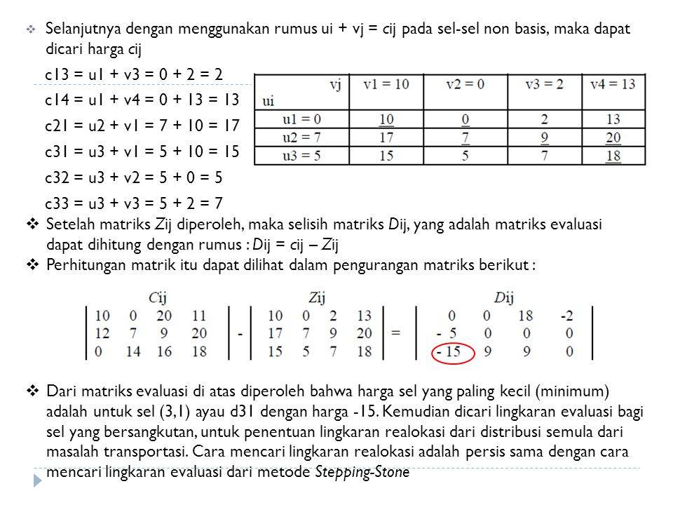 Selanjutnya dengan menggunakan rumus ui + vj = cij pada sel-sel non basis, maka dapat dicari harga cij