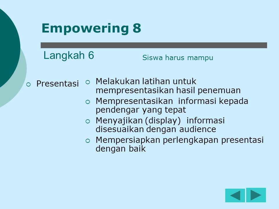 Empowering 8 Langkah 6. Siswa harus mampu. Melakukan latihan untuk mempresentasikan hasil penemuan.