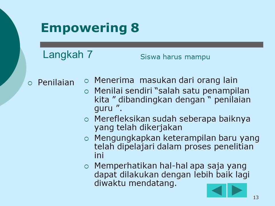 Empowering 8 Langkah 7 Menerima masukan dari orang lain Penilaian