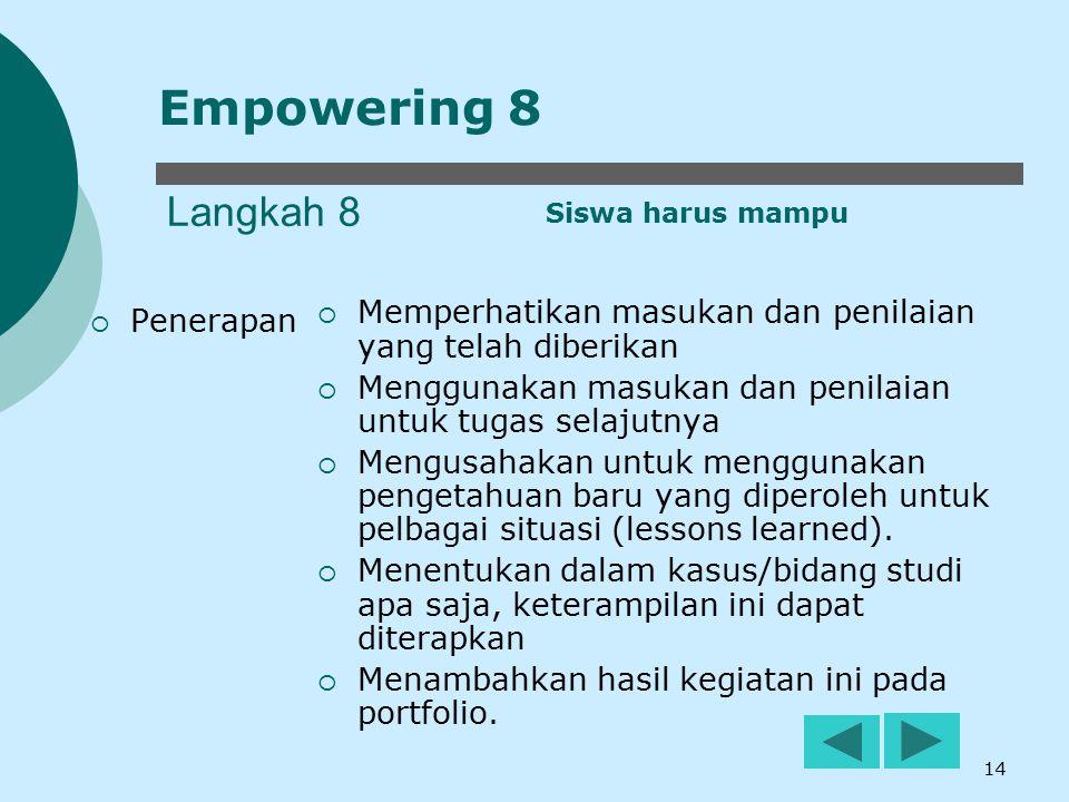 Empowering 8 Langkah 8. Siswa harus mampu. Memperhatikan masukan dan penilaian yang telah diberikan.