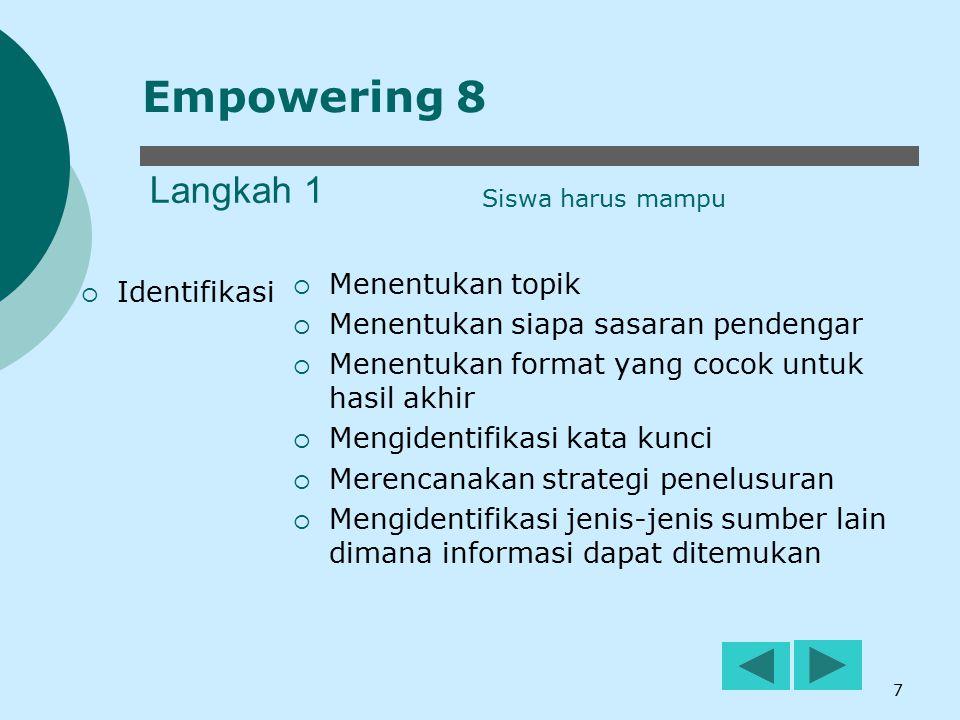 Empowering 8 Langkah 1 Menentukan topik Identifikasi