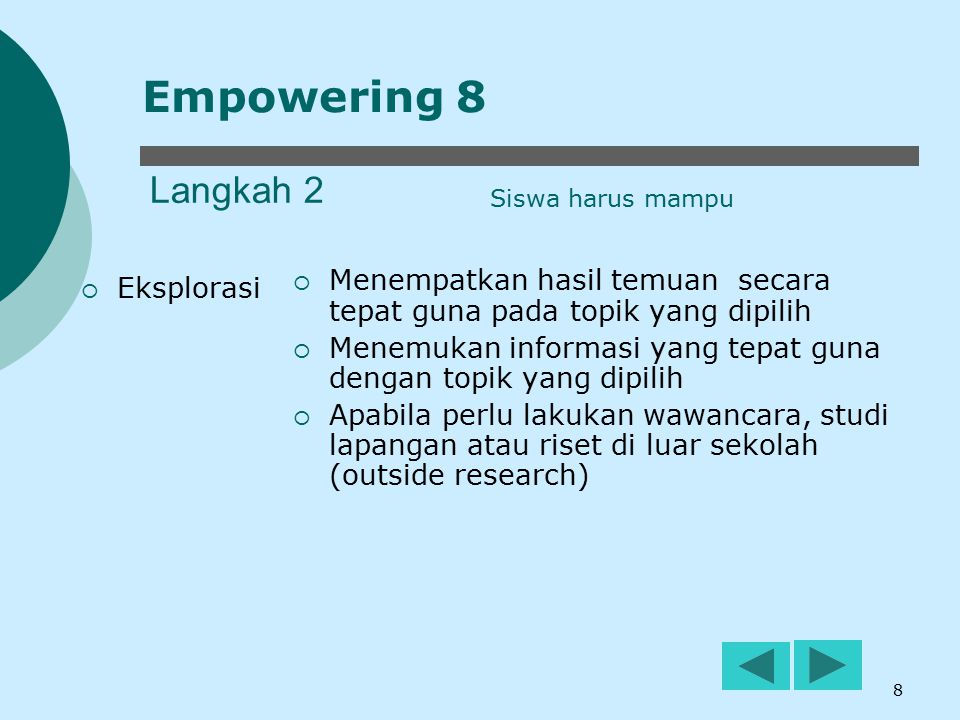 Empowering 8 Langkah 2. Siswa harus mampu. Menempatkan hasil temuan secara tepat guna pada topik yang dipilih.