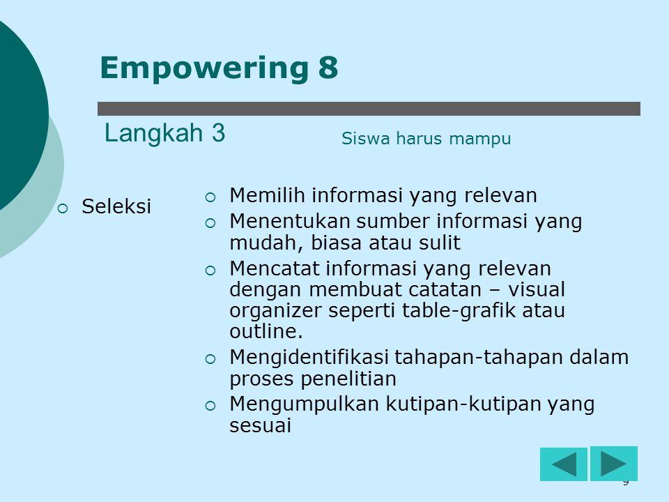 Empowering 8 Langkah 3 Memilih informasi yang relevan