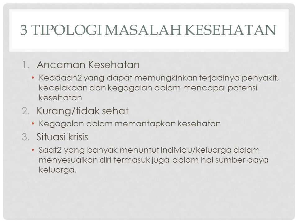 3 Tipologi Masalah KESEHATAN