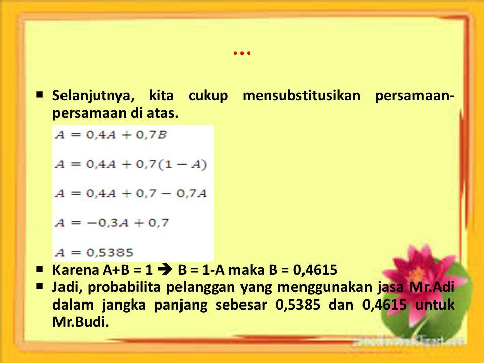 … Selanjutnya, kita cukup mensubstitusikan persamaan-persamaan di atas. Karena A+B = 1  B = 1-A maka B = 0,4615.